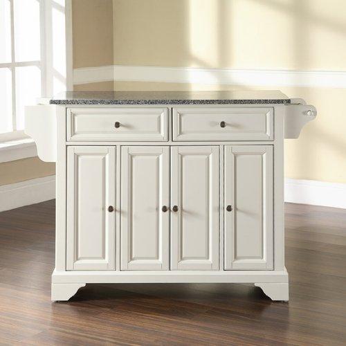 Crosley Furniture LaFayette Solid Granite Top Kitchen Island in White Finish
