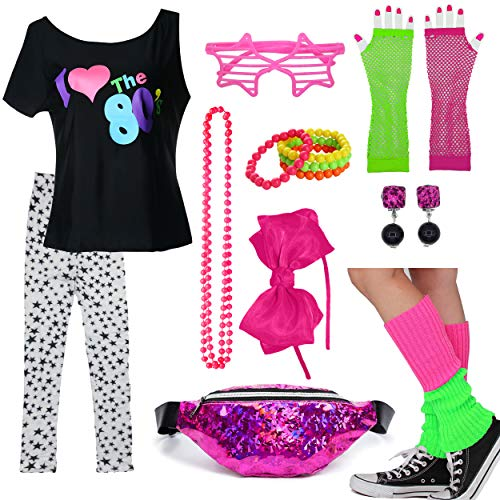 Kids 1980s Accessories I Love The 80's T-Shirt Outfit with Fanny Pack (7-8, 03) ()