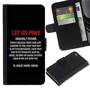 """EuroCase - Apple Iphone 4 / 4S - """"LET US PRAY IN JESUS' NAME - Cuero PU Delgado caso cubierta Shell Armor Funda Case Cover"""