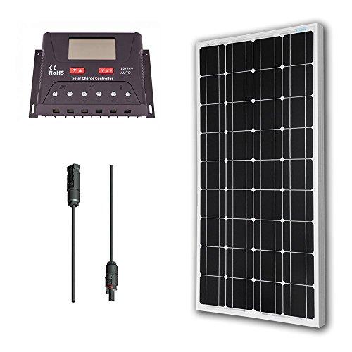 Renogy 100 Watt 12 Volt Monocrystalline Solar Bundle Kit with 30A PWM Controller - LCD Display by Renogy