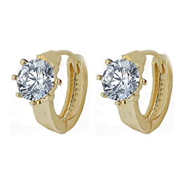 b5d1f9537 Amazon.com: Vanessa.Lin Gold Cz Hoop Earrings for Women Girls, Cz ...