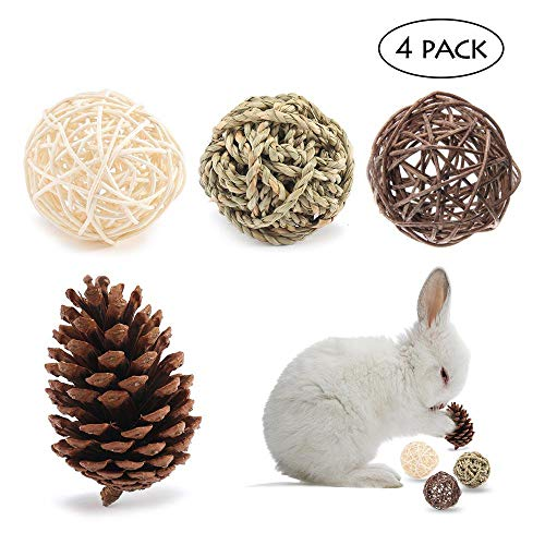 AUOKER Small Animal Activity Play Chew Toys, Water Grass Ball/Pine Cone Ball/Rattan Ball, Pine Ball for Guinea Pig Chinchilla Hamster Rat Bunny Rabbits Gerbil