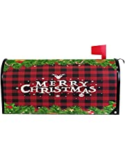 """Wamika Christmas Reindeer Buffalo Plaid Mailbox Cover Magnetic Standard Size Snowman Snowflake Holly Leaves Letter Post Box Cover Wrap Decoration Welcome Home Garden Outdoor 21"""" Lx 18"""" W"""