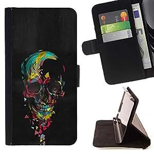 Momo Phone Case / Flip Funda de Cuero Case Cover - Cráneo colorido Pintura Negro Corazón Rosa - Samsung Galaxy A5 ( A5000 ) 2014 Version