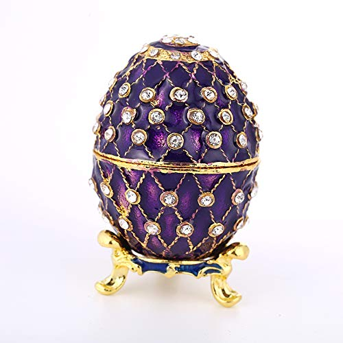 GANGTU Faberge Egg Jewelry Organizer,Hand Painted Enameled Faberge Egg Vintage Style Decorative Hinged Jewelry Trinket Box (Purple)