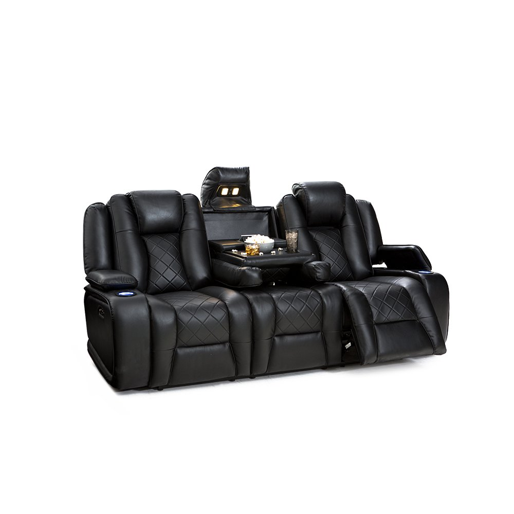 Seatcraft Europa Home Theater Seating Multimedia Power Recline Sofa with Adjustable Powered Headrests and Fold-Down Table (Black)