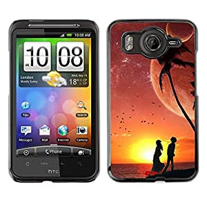 Caucho caso de Shell duro de la cubierta de accesorios de protección BY RAYDREAMMM - HTC G10 - Sunset Beach Couple Love Romance Night Sky