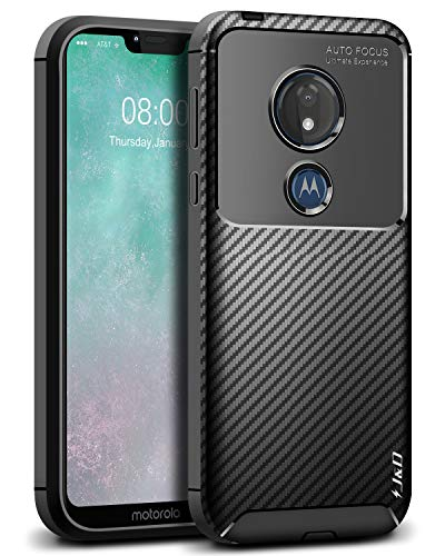 J&D Case Compatible for Moto G7 Power/Moto G7 Supra Case, [Carbon Fiber Pattern] [Drop Protection] Shock Resistant Protective TPU Slim and Anti-Scratch Soft Case - [Not for Moto G7/G7 Plus/G7 Play]