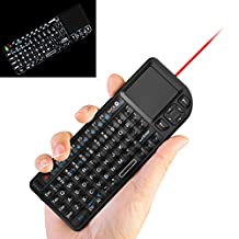 Mini Backlit Wireless keyboard + Touchpad + Mouse with Laser Pointer, 2.4 GHz USB Remote Control LED illuminated Rechargeable Li-Ion Battery for Android TV Box PC Pad Tablets Laptop (Black)