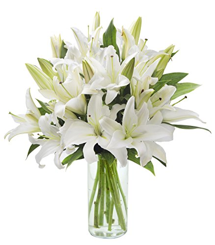 White Lily Bouquet (13 Stems) - The KaBloom Collection Flowers With Vase