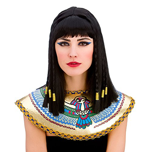 (Ladies Cleopatra Wig with Fringe and Gold Braiding Egyptian Fancy Dress by Wicked Wicked)