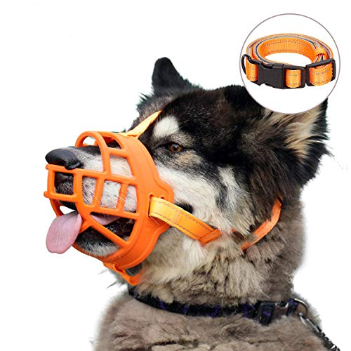 Dog Muzzle, Soft Silicone Basket Muzzle for Dogs, Allows Panting and Drinking, Prevents Unwanted Barking Biting and Chewing, Included Collar and Training Guide (2 (Snout 7.5-9.5), Orange)