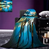 smallbeefly Turquoise Digital Printing Blanket Surreal Landscape with Wood Deck and Clouds in Sky Dreamlike Coastal Charm Summer Quilt Comforter Turquoise White