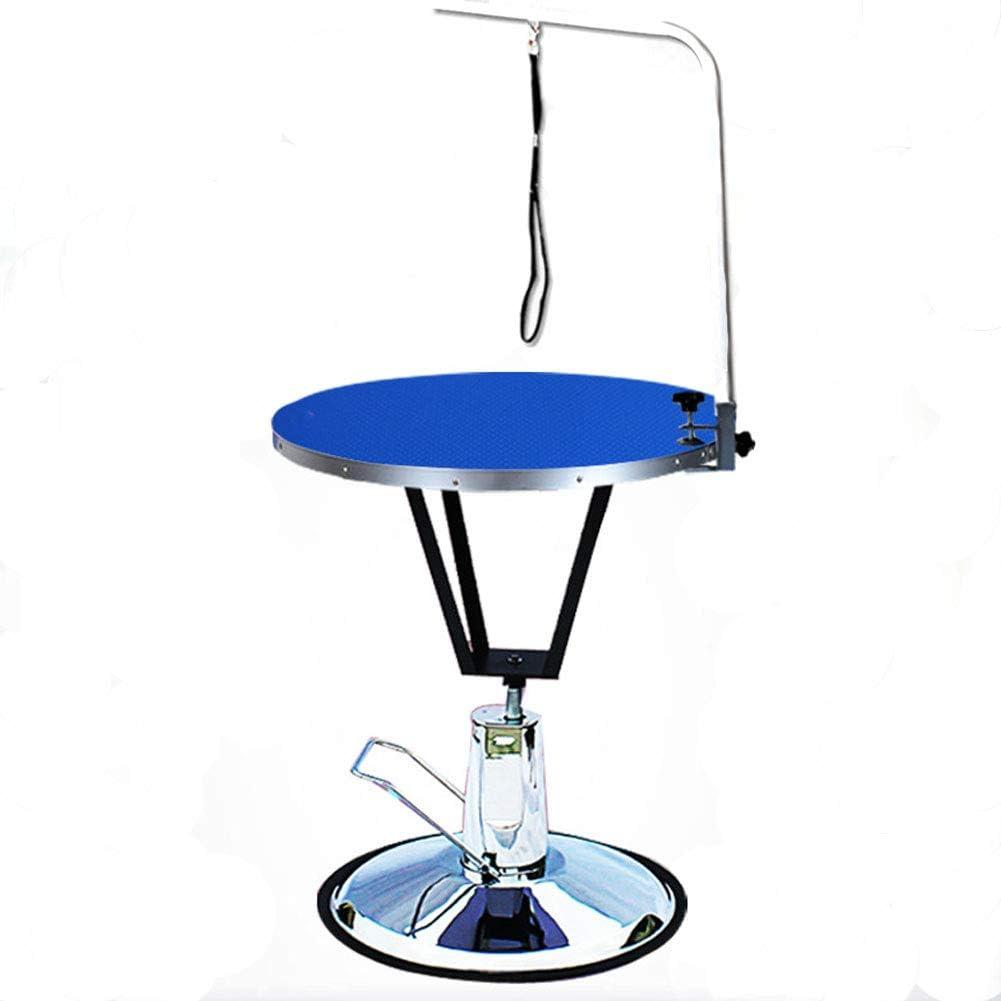 mesa pequeña hidraulica para peluqueria, color azul, una cuerda