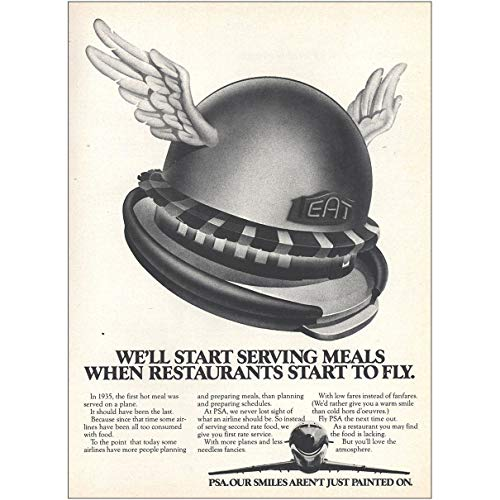 (1979 PSA Airlines: We'll Start Serving Meals, PSA Print Ad)
