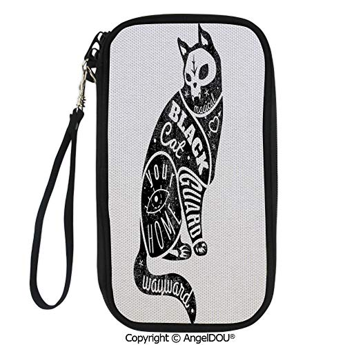PUTIEN Polyester Durable Hand holding bag Black Fortune Magician Skull Cat Drawing with Part Magical Quote Artwork Image for shopping men women.