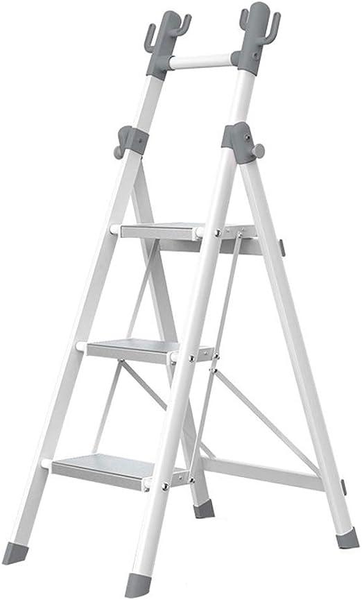 HYDT Escaleras de Mano Escalera de Perchero, Escalera de Escalera Plegable de 3 Pasos para Adulto, Escalera de almacenaje Multifuncional para balcón/baño, Gris, Soporta hasta 150 kg: Amazon.es: Hogar