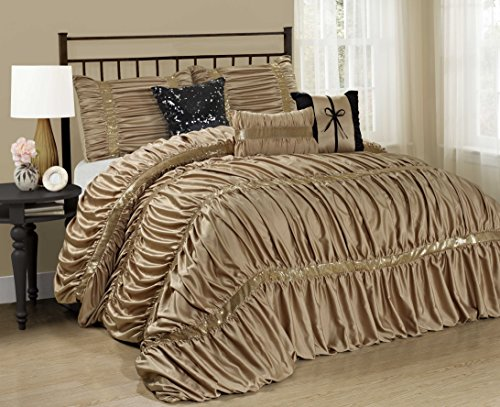 7 Piece CLARAITA Chic Ruched Pleated Comforter Set-Queen King Cal.King Size (Queen, Gold)