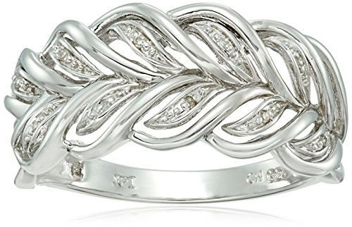 - Sterling Silver Leaf Diamond Accent Ring, Size 8