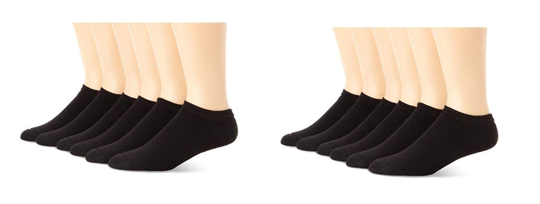Hanes Ultimate Mens No-Show Socks, Black, Size 10-13/Shoe Size 6-12, 12 Pack