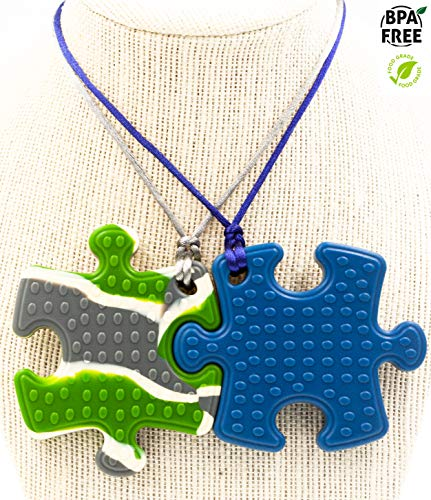 Sensory Chew Necklace Premium Strength (2 Pack) for Boys, Girls, Kids and Adults. Great for Severe Chewers Autism, ADHD, Baby Teething, Silicone Puzzle Autism, Awareness Necklace Camo & Dark Blue