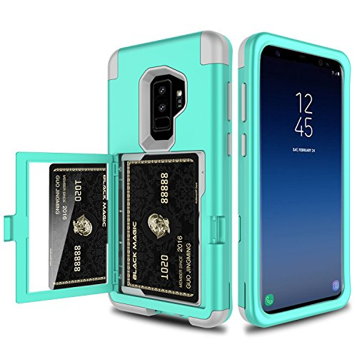 Galaxy S9 Plus Case, Elegant Choise 3 in 1 Wallet Case with Hidden Back Mirror Heavy Duty Full Body Protection Rugged Case Cover with Card Slot Holder and Kickstand for Samsung Galaxy S9+ (Turquoise)