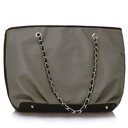 Trendstar hombro bolsos de mano para mujer diseño de mujeres Grab Tote-Bolso de piel sintética Gris - gris