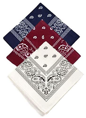 Kit Com 3 Lenços Bandanas - Azul, Vermelha e Branca