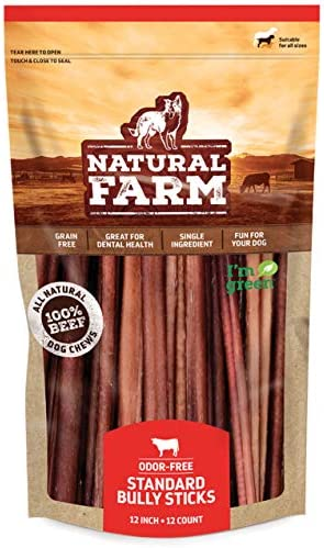 Natural Farm Bully Sticks - 12-Inch Long, 12-Count (17.6oz / 1.1 lb Per Pack) - 100% Beef Chews, Grass-Fed, Non-GMO, Fully Digestible Dental Treats to Keep Your Small and Medium Dogs Busy and Happy