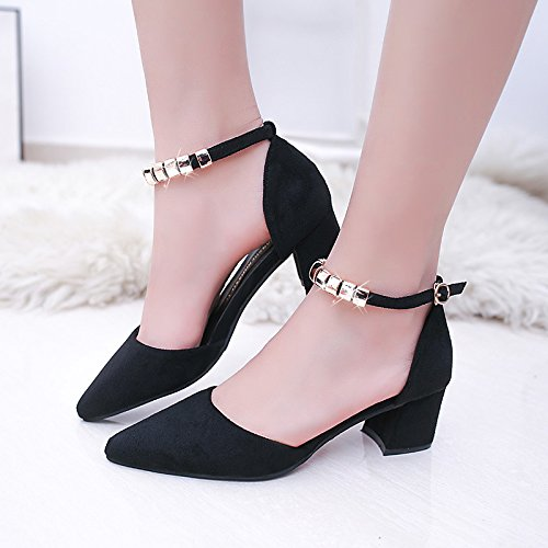 word Fashion pointed summer sandals ladies Women's casual wild thick Black non Spring slip suede Sandals comfort with and WHLShoes 8E174