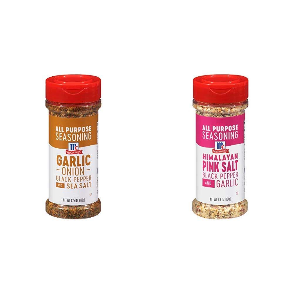 McCormick Garlic Onion Black Pepper And Sea Salt All Purpose Seasoning, 4.25 oz with McCormick Himalayan Pink Salt Black Pepper And Garlic All Purpose Seasoning, 6.5 oz