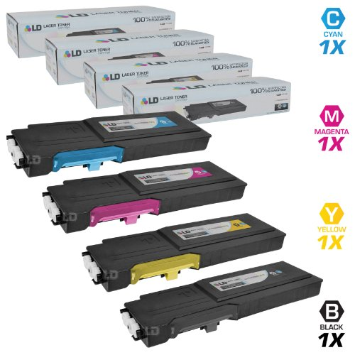 4 Color Toner Set (LD © Dell Compatible C2660/C2665dnf Set of 4 High Yield Toner Cartridges Includes: 1 593-BBBU Black, 1 593-BBBT Cyan, 1 593-BBBS Magenta, and 1 593-BBBR Yellow)