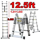 BENTLEY 3.8M TELESCOPIC FOLDABLE & EXTENDABLE A FRAME LADDER - 12 STEPS
