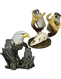 CheckOut (Set) Outdoorsman Bald Eagle Plus Deer Skull Salt & Pepper Shaker Gift Pack wholesale