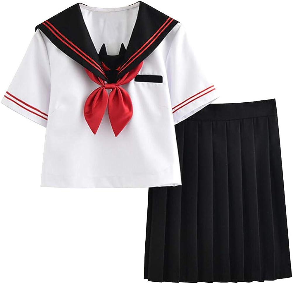 FENIKUSU - Disfraz de Uniforme de Colegiala Japonesa para Mujer (Manga Corta, Camisa Blanca, Falda Negra, Disfraz de Marinero 35) - Blanco - Large: Amazon.es: Ropa y accesorios