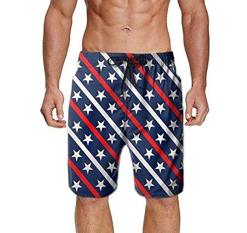 Patriotic Glory USA American Flag Swim Trunks Beach Shorts (Faded Glory American Flag)