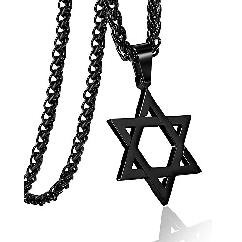 Apopo Star of David ChainSix Star Necklace Hiphop Stainless Steel Pendant Jewelry (Black)