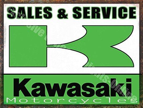 Kawasaki Motors - Kawasaki Motorcycles Sales & Service Vintage Garage Large Metal/Steel Wall Sign by Yerkes