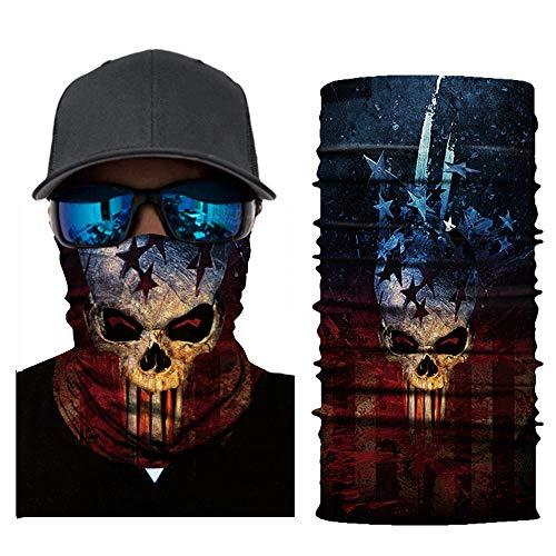 (3D Halloween Fishing Face Sun Mask Headwear Head Wrap Neck Gaiter Scarf Tube Mask Bandana Mask Balaclava Sport Hair Bands Guys Headband for Running Hiking Cycling Motorcycling Riding)