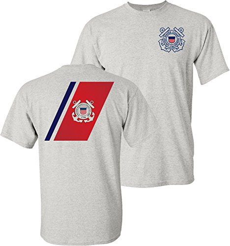 USCG US Coast Guard Racing Stripe Front & Back Ash Grey T-Shirt USA (Ash Grey, Large)