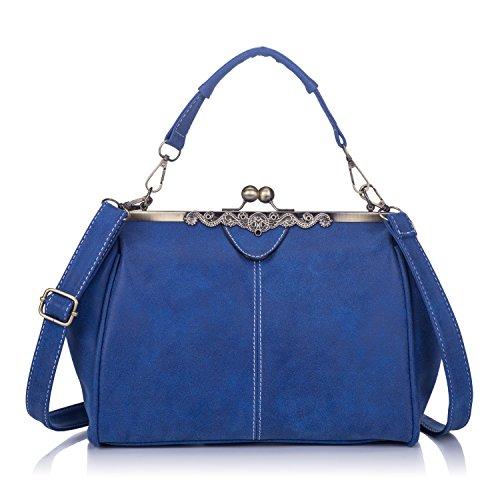 Women Retro Leather Large Fashion Tote Purse Top Handle Handbag Crossbody Shoulder Bag for Ladies Royal Blue