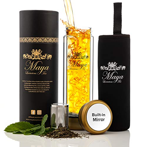 Tea Infuser Bottle by Maya Luxurious - Leakproof Double Wall Glass Travel Tea Mug with Stainless Steel Filter - BPA Free Tea Tumbler + Strainer for Loose Leaf Tea - Coffee Thermos - Fruit Water 14oz (Mugs Travel Tea)