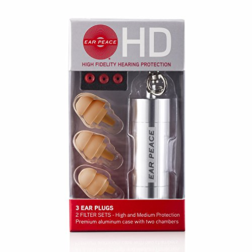 EarPeace HD Ear Plugs - High Fidelity Hearing Protection for Concerts & Music Professionals (Silver/Tan)