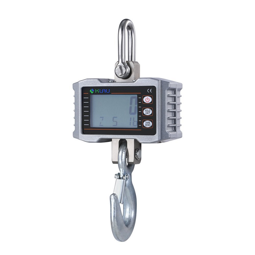 Klau 1T 1000 kg 2205 lb Aluminum Smart Crane Scale Hanging Scales 0.5 kg / 1.1 lb Resolution LCD Display with Backlight Silver
