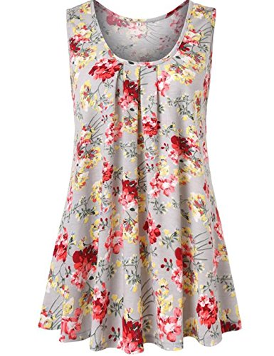 Art 90s Women's Floral Print Sleeveless Loose Casual Flowy Tunic Tank Top (Medium, (Art Print Tank Top)