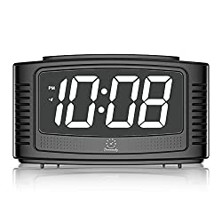 DreamSky Digital Alarm Clock Snooze, 1.2 Nice White Led Display Dimmer, Loud Beep Alarm Sound, Simple Operation, DC Powered