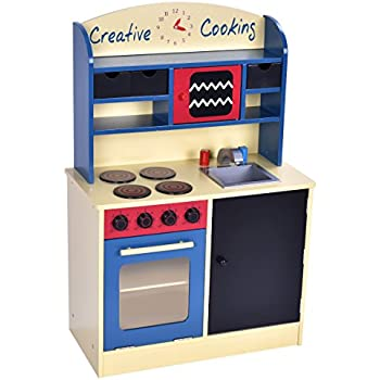 Costzon Wood Kitchen Toy Kids Cooking Pretend Play Set Toddler Wooden  Playset Gift
