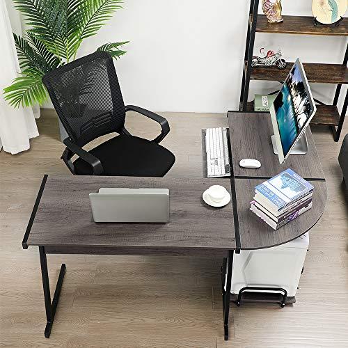 GreenForest Office Desk Corner L Shaped Workstation Laptop Table with Keyboard,Walnut by GreenForest (Image #3)