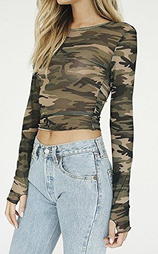Longues Femme Haut Printemps et Blouses Crop Shirts Casual Tops JackenLOVE Fashion Manches Chemisiers Militaire Camouflage T Col Automne Rond dxtaHw5qHY