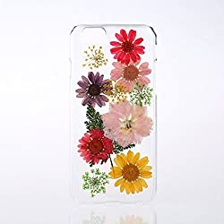 Rebbygena DIY Daisy Flower Case for iPhone 6 iPhone 6s Crystal Clear Real Pressed Flower Case 4.7 inch iPhone 6/6s